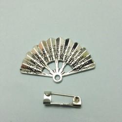 Kit 1 Broche  Abanico metal plata + patrón bolillos