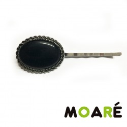 Clip pelo Camafeo elegante Ojo de gato negro + picado bolillos