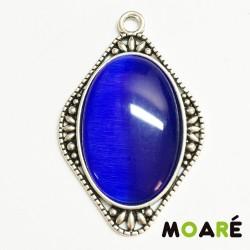 Colgante Camafeo DAMA ojo de gato Azul  Oscuro + picado