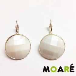 Pendientes Redondo Resina Blanco perla + picado