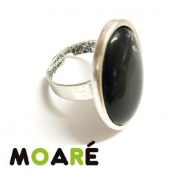 Anillo Camafeo oval Liso ojo de gato negro + picado