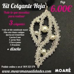 Kit colgante Hoja perlas + picado