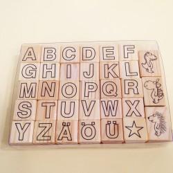 Sellos de goma letras y dibujos perfil