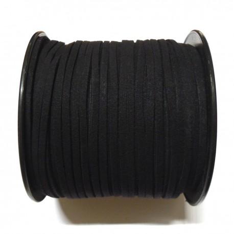 Cordón Antelina plano negro 3mm