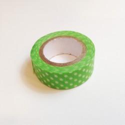 Washi Tape verde topos blancos