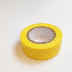 Washi Tape Amarillo topos blancos