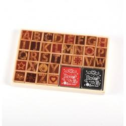 Set de sellos de madera Mayúsculas Flores