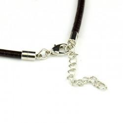 Collar cordón cuero negro 46 cm