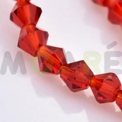 Cristal tallado Rojo Burdeos  4mm 118 unidades