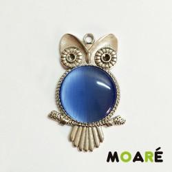 Kit Colgante Camafeo Plata Búho Ojo de Gato Azul