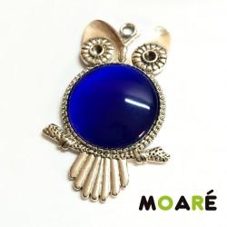 Kit Colgante Camafeo Plata Búho Ojo de Gato Azul Oscuro
