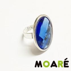 Anillo Camafeo oval Liso Cristal Azul + picado
