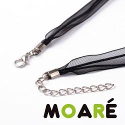 Collar cordón cuero trenzado negro  46 cm