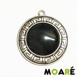 Colgante Greek Camafeo Plata ojo de gato negro