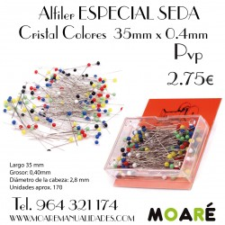 Alfiler ESPECIAL SEDA punta cristal colores 35mm