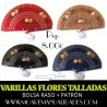 Varillas abanico FLORES TALLADAS+ patrón