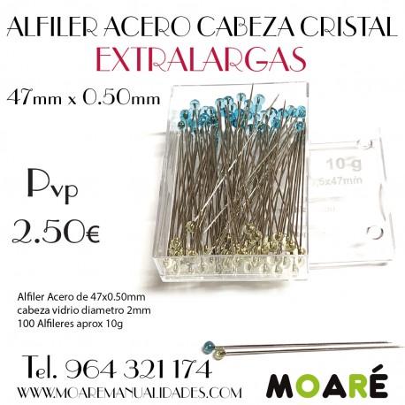 Alfiler Acero 47mm cabeza vidrio EXTRALARGAS