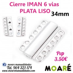 Cierre IMAN 6 vias 34mm plata LISO