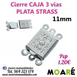 Cierre Caja 3 vias Strass 17mm Dorado