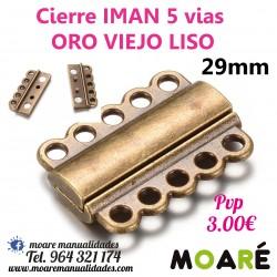 Cierre IMAN 5 vias 29mm ORO VIEJO LISO