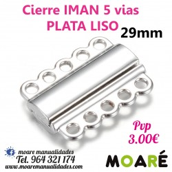 Cierre IMAN 5 vias 29mm plata LISO