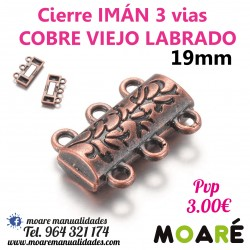 Cierre IMAN 3 vias 19mm COBRE VIEJO LABRADO