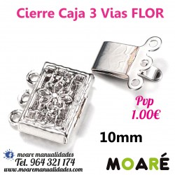 Cierre Caja 3 vias 10 mm plata detalle FLOr