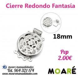 Cierre redondo Caja labrado Fantasia 3 vias 18mm plata