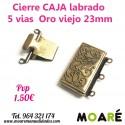 Cierre Caja 3 vias caja labrado 23mm plata