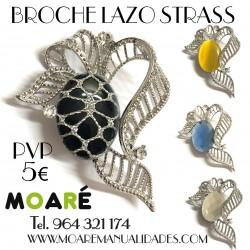 Broche LAZO STRASS + picado bolillos
