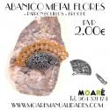 Broche Abanico metal FLORES + patrón bolillos