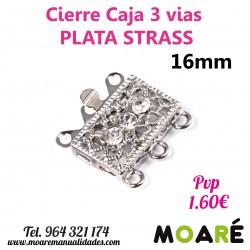 Cierre Caja 3 vias caja strass 16mm Plata