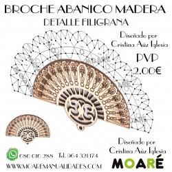 Broche Abanico MADERA FILIGRANA + patrón bolillos