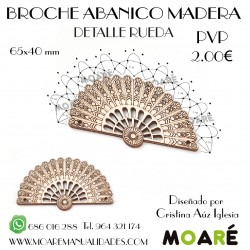 Broche Abanico MADERA RUEDA + patrón bolillos