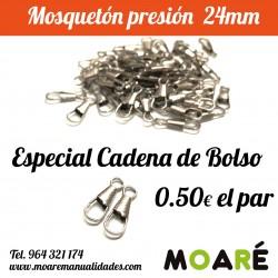 PAR mosquetón presión Cadena 24mm plata