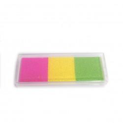 set 3 tintas verde amarillo rosa