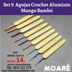 Set 10 agujas crochet Aluminio mango bambú