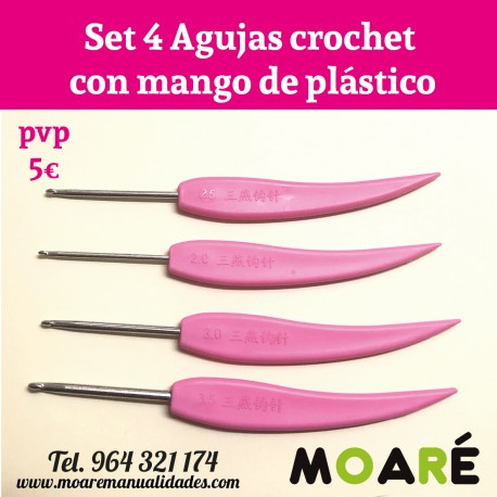 set 4 Agujas crochet con mango de plástico