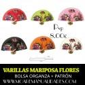 Varillas abanico MARIPOSA Y FLORES + patrón
