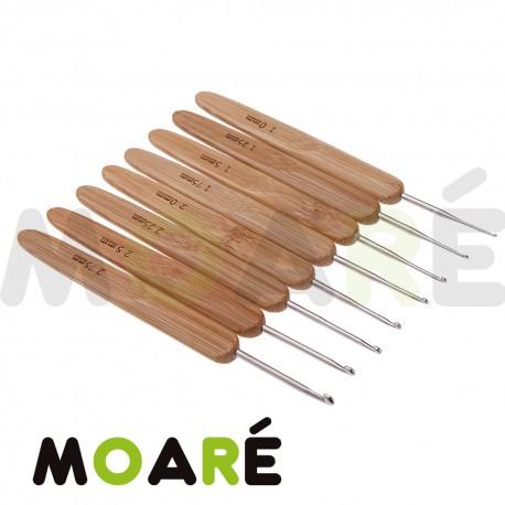 set 12 agujas croche bambú y metal