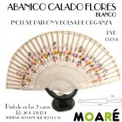 Varillas abanico ABANICO CALADO FLORES BLANCO + patrón