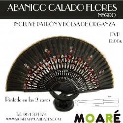 Varillas abanico ABANICO CALADO FLORES NEGRO