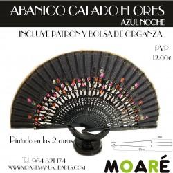 Varillas abanico ABANICO CALADO FLORES AZUL NOCHE