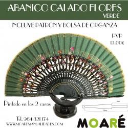Varillas abanico ABANICO CALADO FLORES VERDE