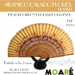 Varillas abanico ABANICO CALADO FLORES MOSTAZA