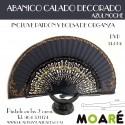 Varillas abanico CALADO DECORADO AZUL NOCHE + patrón