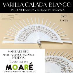 Varillas abanico SIPO CALADO BLANCO 14.5X6.5CM