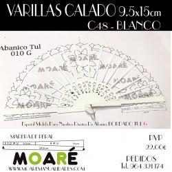 Varillas abanico PERAL CALADO BLANCO 24.5cm