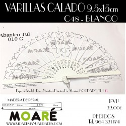 Varillas abanico PERAL CALADO MARFIL 24.5cm