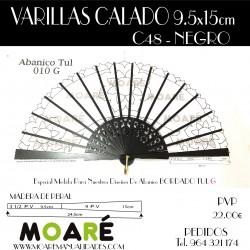 Varillas abanico PERAL CALADO NEGRO 24.5cm